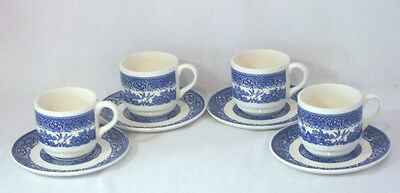 Lovely Blue Willow Set of 4 Cups & 4 Saucers