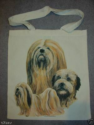 Lhasa Apso Dogs On  A Tote Canvas Bag