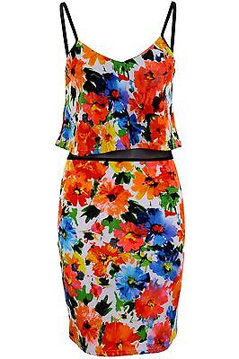 Ladies Strappy Textured Mulitcolour Floral Mesh Frill Women's Bodycon Dress