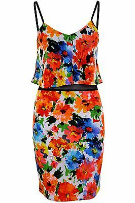 Women's Multicolour Frill Textured Strappy Mesh Floral Ladies Bodycon Dress