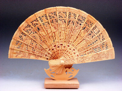 11.5 Inches Bone Trees Peaches Flowers Birds 8 Immortals Hand Carved Fan & Stand