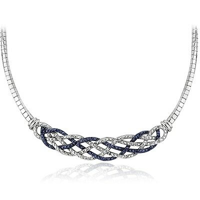 1/4 Ct Blue & White Diamond Weave Frontal Necklace in Brass