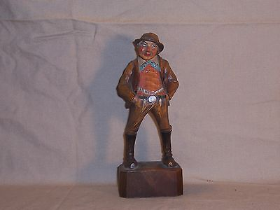 Beautiful Vintage ANRI / Black Forest Man With Cane & Pipe Wood Carved Figurine