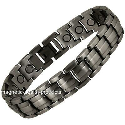 Mens Magnetic Healing Bracelet Gun Metal Bangle Arthritis Pain Relief Therapy 2
