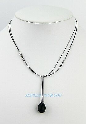 BACCARAT JEWELRY TENTATION DUO ONYX CRYSTAL NECKLACE STERLING SILVER LINK NEW
