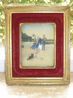 Amazing Victorian Miniature Painting In Original Frame With Concave Glass