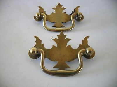 2 Vintage Small DROP Bale Door Pulls English Brass Dresser Drawer Eastlake
