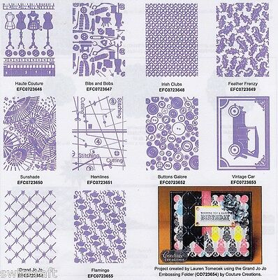 "COUTURE CREATIONS Embossing Folder WHO WHAT WEAR COLLECTION 5"" X 7"" CLEARANCE"