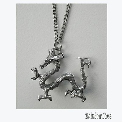 Chain Necklace #210 Pewter Dragon 28mm wide