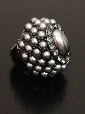 Chunky Adjustable Gray Pearl Cocktail Ring Women's Fashion Celebrity Jewelry
