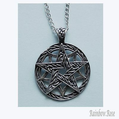 Chain Necklace #356 Pewter CELTIC PENTAGRAM (32mm x 28mm)