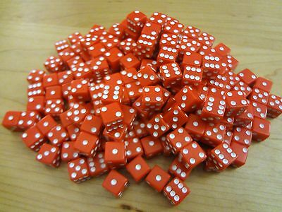 Lot of 100 Red Small MINI 8mm 8 mm D6 Dice Square Gaming Casino Fast Ship D 6