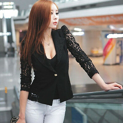 OL Women Black Slim Career Short Coat Suit Lace Sexy Outerwear Jacket Blazer M-X