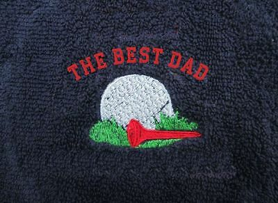 Embroidered Personalised Golf Towel Fathers Day Gift Best Dad