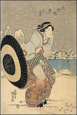Japanese Art Print: A woman with a parasol in snow. Fine Art Reproduction