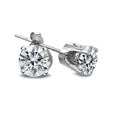 1/4 Ct Round Diamond 14K White Gold Stud Earrings, H-I, I2-I3