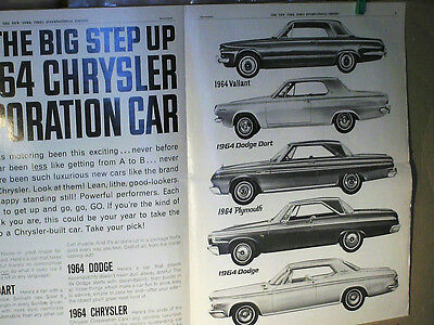 Depliant 1964 : Dodge/ Dart/ Valiant/ Chrysler/ Pymouth