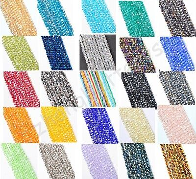 100 Pcs Rondelle Crystal Glass Spacer Loose Beads Charms Bracelet Necklace 4mm