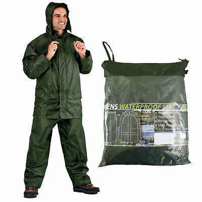 ProClimate Mens Waterproof Rain Suit Hooded Jacket   Trousers Pac In A Bag 7118cfd291360