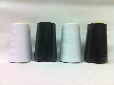 4X Black/white Overlocking Industrial Sewing Threads Polyester 5000Yards