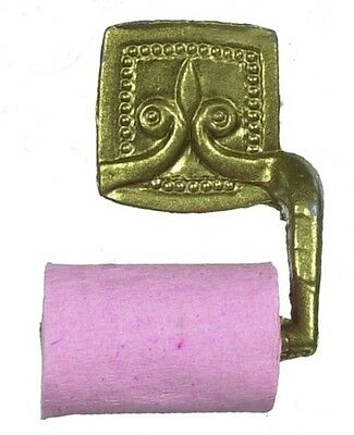 Gold Toilet Roll Holder Bathroom accessory for a Dolls House , Miniature