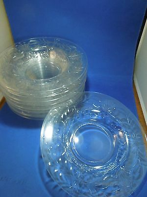 "Vintage Set of 12 Libbey Cut Glass Crystal 9 "" Plates Bowls (Signed on Bottom)"
