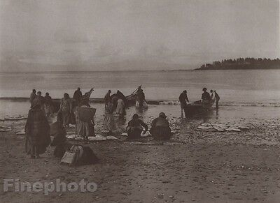 1900/72 Photo Gravure NATIVE AMERICAN INDIAN Fishing Canoes EDWARD CURTIS 11x14