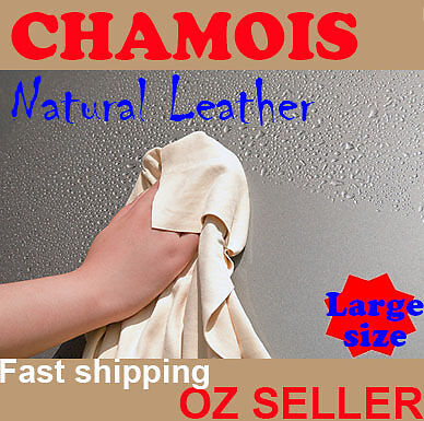 NATURAL Real Leather CHAMOIS Car wash Glass screen furniture clean large 60x80cm