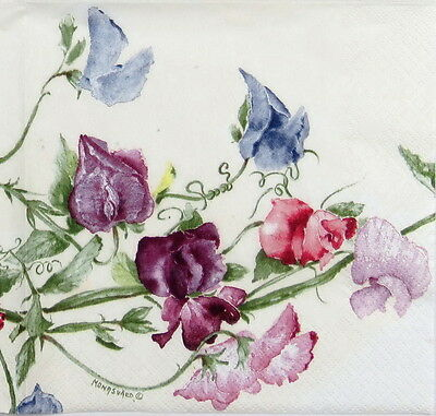 4x Paper Napkins -Vintage Mona Svard Flower Sweatpea- for Party, Decoupage Craft