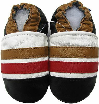 carozoo brown red stripe 18-24m soft sole leather baby shoes