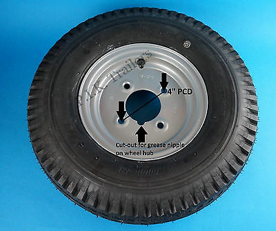 "8"" Trailer Wheel & Tyre 400 x 8 4-Ply on 4"" Inch PCD Wheel - SILVER"