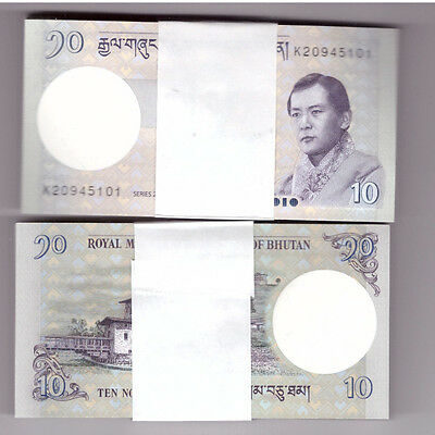 Bhutan Bundle 100 X 10 Ngultrum Banknote Unc 100 Notes 1 Bundle 2013
