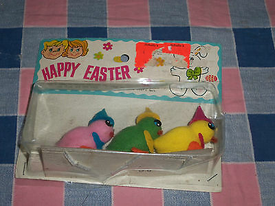 "NIP Vintage Easter Chicks  Set of 3  Pink  Green Yellow  Each about 1 7/8"" High"