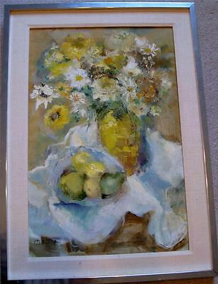 Ruth Olenick Original Oil on Canvas Floral Still Life Listed