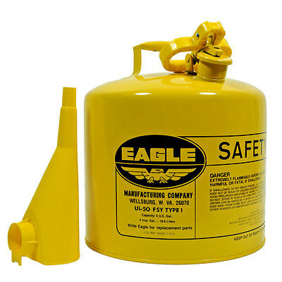 5 Gallon Steel Safety Can, Type I, Diesel Fuel, Yellow,  Eagle UI-50-FSY