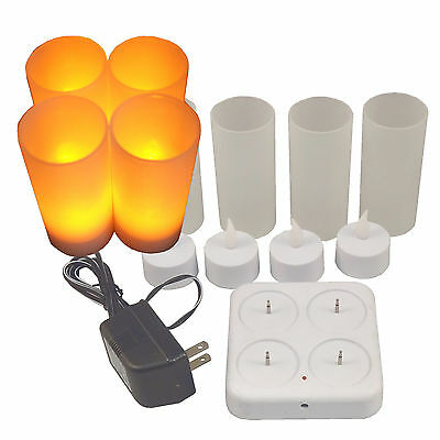 Set of 4 NEW LED Rechargeable Flameless Tea Light Diffused Candles with Votive