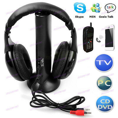 5 in1 Multi-functional Wireless Headphone Earphone For TV PC MP3 MP4 MP5 Radio J