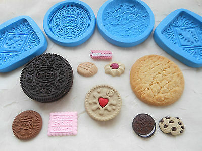 1x Sugarcraft/Fimo MOULD: BISCUIT COOKIE Theme (Chocolate Clay Wax Resin Mold)