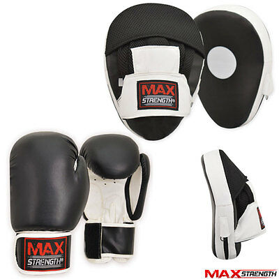 Focus Pads Set Boxing Gloves 10oz Hook & Jabs Mitts Punch Bag MMA Fight Training