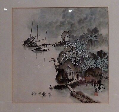 Antique Chinese Artist's Sign & Red Seal Watercolor