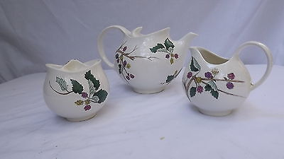 Eva Zeisel for Hallcraft MULBERRY Pattern China - 3 pc Set Teapot Creamer Sugar