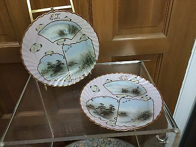 3 Pc Japanese Porcelain 2 Plates & Bowl - Nippon Aesthetic Movement - Cranes