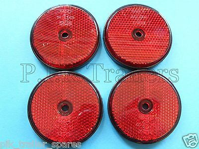 4 x Red Rear Screw on 60mm Round Reflectors - Trailers & Horse Box