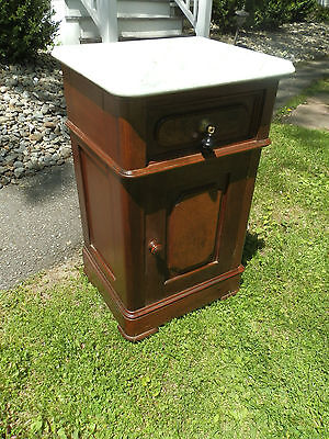 Wonderful Antique Walnut Marble Top Victorian Bedside Commode