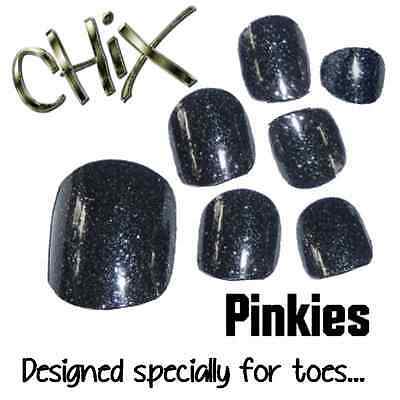 CHIX Nail Wraps PINKIES Charcoal Glitter Sparkles JUST 4 TOES Foils Nails Salon