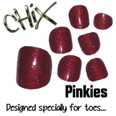 CHIX Nail Wraps NEW PINKIES Red Glitter Sparkles JUST 4 TOES Foils Nails Salon