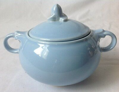 Vintage LuRay Pastel Blue Sugar Dish with Lid Double Handle USA