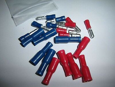 (20) Male & Female Car Audio Quick Disconnect Wire Bullet Connector Red & Blue
