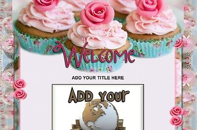 SWEET CAKES ebay Listing Template CUPCAKES pink blue food vinty lacy