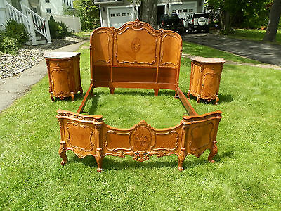 Amazing Antique Marquetry Five-Piece Bedroom Suite With Marble Top Commodes
